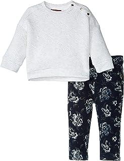 7 For All Mankind 女婴紧身 5 口袋弹力斜纹牛仔裤和绗缝套头衫 7fgi1764