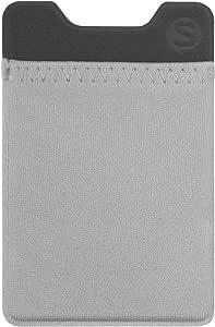 丝绸粘扣手机钱包 - Sidecar Slim 可扩展信用卡口袋 - 适合 iPhone AndroidSLK-SCR-GRAY Gunmetal 灰色