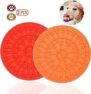 Bangp 宠物舔垫 适用于狗和猫(新版),慢速喂食器舔垫,狗狗分心垫,无聊和*缓解*垫 | 添加粘性零食 | 37 个吸盘(橙色+红色)
