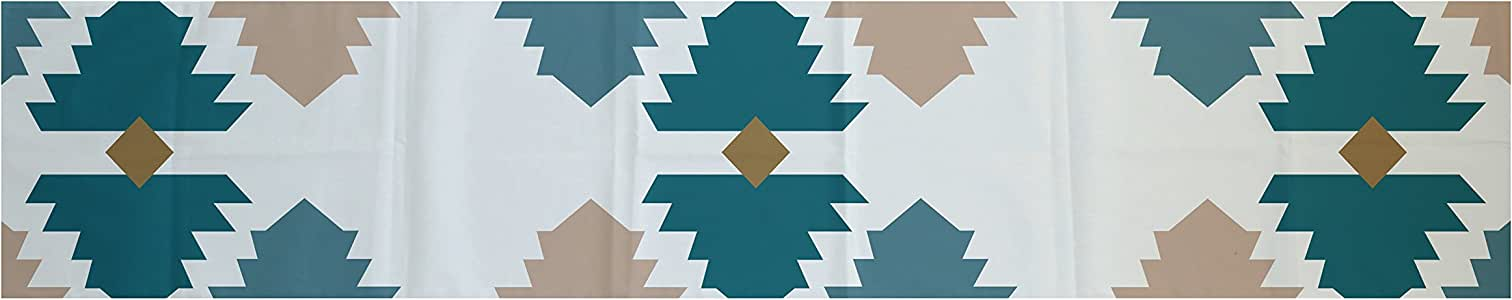 E by design TRGN360BL37TA5-72 梅萨几何印花桌巾,40.64 厘米 x 182.88 厘米,水绿色