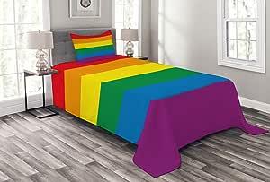 Ambesonne 多色床罩,多种尺寸可选 彩虹色 Twin Size bed_33669_twin