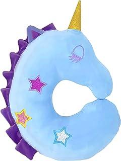 Unicorn 儿童旅行枕,柔软毛绒动物玩具,头部和颈部支撑垫,可在汽车、飞机、火车中安睡。 适合儿童和成人 蓝色 13.77*12.59*3.93 Inc PIPB-2019