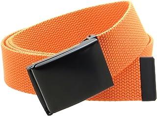 帆布腰带翻盖黑色扣/尖纯色 127 cm 长 3.81 cm 宽