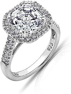 Amazon Collection 镀铑 925 银透明阿斯切锆立晶订婚戒指 11 号