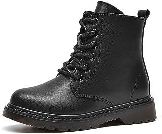WUIWUIYU 小/大男童女童黑色侧拉链系带军装沙漠靴短款高帮及踝靴