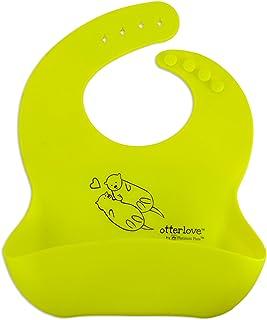 防水硅胶围嘴 * 纯铂金 LFGB 硅胶。 无填充物。 Single Bib - Lemon Lime Otters 小号