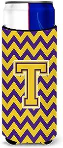 Caroline's Treasures CJ1041-STBC Letter S Chevron Purple and Gold Tall Boy Koozie Hugger, Multicolor