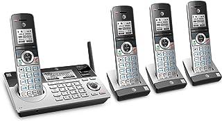 AT&T TL96477 DECT 6.0 可扩展无绳电话,带蓝牙连接到手机,智能呼叫阻塞和应答系统,银色/黑色带 4 个听筒