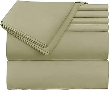Hearth & Harbor 床上用品 6 件套 - 超深口袋床笠,适合 45.72-60.96 厘米厚的床垫。 淡紫色(Sage) Queen vend_harbor-216PC-Q-Sage