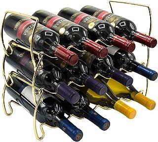 """Sorbus 3 层可堆叠葡萄*架 - 经典风格奶瓶*架 - 非常适合*吧、*窖、下室、柜子、煎锅等 - 可容纳 12 瓶、金属 金色 8"""" L x 3.75"""" W x 8"""" H WN-RCKM3L-GLDA"""