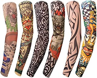 Benbilry 6 件套艺术臂假纹身袖套中性派对酷帅男士女士时尚纹身和身体艺术临时防水*尼龙套件