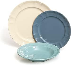 Soul 厨房餐具 18 件套奶油色/天蓝色/天蓝色