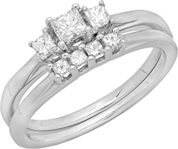 0.50 Carat (ctw) 14K White Gold Princess Cut Diamond Ladies 3 Stone Bridal Engagement Ring With Matching Wedding Band Set 1/2 CT (Size 7)