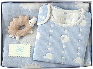 Hoppetta 6层纱布毯+睡袍+摇摇铃 礼品套装 蓝色