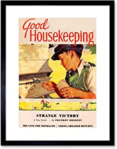 MAGAZINE COVER HOME DOMESTIC BEES HONEY BOY BOY USA 框架艺术印画 B12X6863 黑色 12x16 Inches B12X6863_BLACK