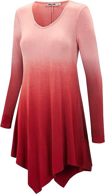 LL Womens Long Sleeve Handkerchief Hem Tie Dye / Ombre Tunics - Made in USA  Wt1050_wine Large