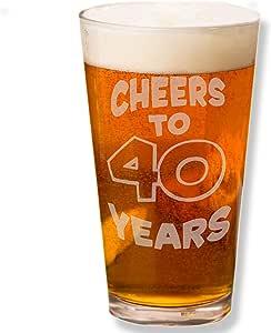 Shop4Ever Cheers To 40 Years 激光雕刻啤*品脱玻璃 ~ 40 岁生日礼物 ~(透明,453.59 克) 透明 16盎司 BeerpintCheers_to40Yrs1
