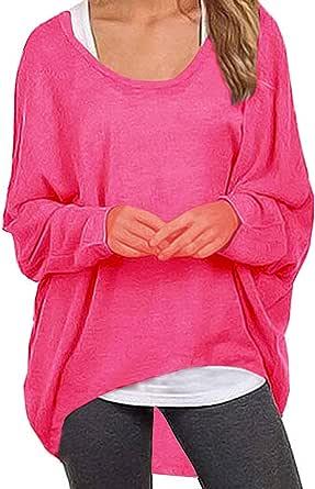 UGET 女式毛衣休闲超大宽松宽松露肩衬衫蝙蝠袖套头衫上衣 玫瑰红 US 6-8 /Asia M