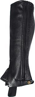 Rhinegold 儿童皮革 1/2 Chaps - 大号 - 黑色