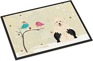 Caroline's Treasures BB2568MAT 圣诞节礼物英国老羊犬室内或室外垫子,45.72 x 68.58 厘米,多色