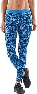 Skins 女式 DNAmic 长紧身裤 - 图案太阳羽毛蓝,S 码