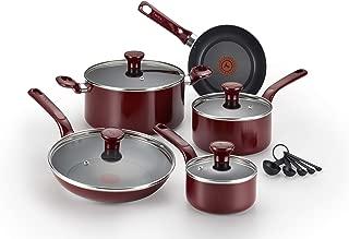 T-fal特福 Excite 不粘炊具 14件套 PFOA 可洗碗機清洗 可放入烤箱加熱 紅色 14-Piece Set