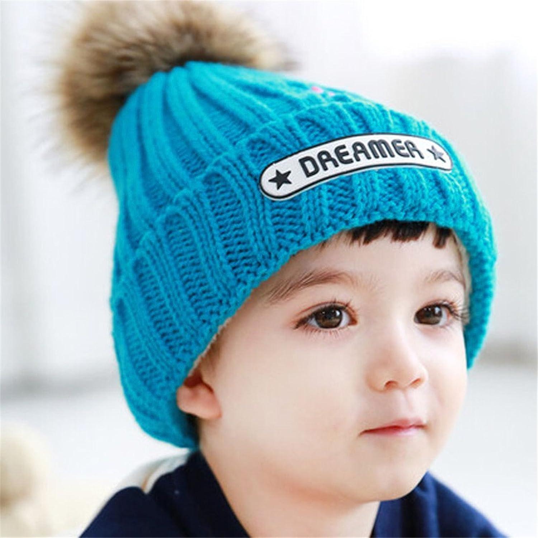 nixing(逆行)韩版儿童毛线帽子 冬季毛绒保暖宝宝帽子