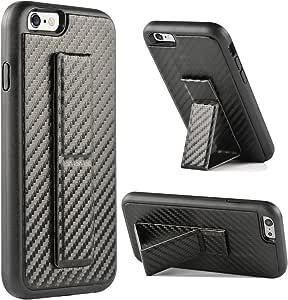 iPhone 手机壳,ZVEdeng Apple iPhone 支架套手带可折叠支架垂直和水平支架加强跌落保护防滑防震保护套适用于 Apple iPhone iPhone 6/6s 4.7''-Black