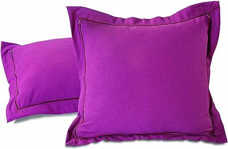 ShalinIndia棕色印度棉弹簧装饰靠垫枕套 - 2 件-200支 - 卧室的完美选择 - 可机洗 Multi6 18x18 Inch MPN-CCS182-Wine