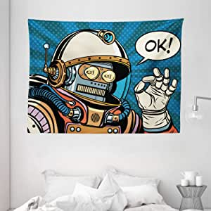Modern Decor Tapestry by Ambesonne, Futuristic Comics Super Heros Like Robot in a Spacesuit with OK Quote Artwork, Wall Hanging for Bedroom Living Room Dorm, 80 W X 60 L Inches, Multicolor