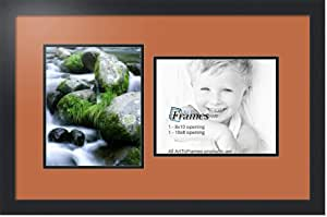 ArtToFrames 字母照片相框,带 2-3x5 开口。 黑色缎面镜框 红色 橙色 2-8x10 Double-Multimat-107-693/89-FRBW26079