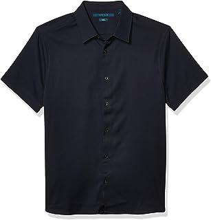 Perry Ellis 男式全弹力修身纯色短袖系扣衬衫