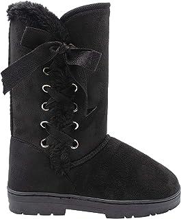 kensie 女式一脚蹬中高 10 英寸(约 25.4 厘米)仿麂皮冬季靴,带人造皮饰边和系带丝带