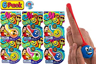 JA-RU 表情符号弹弓泡沫球玩具(6 个装)| 手指吊带表情符号泡沫球恶作剧玩具 儿童用柔软泡沫派对玩具4667-6p 每包6条 水果
