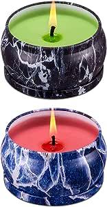 大豆蜡香味蜡烛 127.57 克每 63.50 克长燃烧时间 大型 旅行锡蜡烛 充满异味,营造漂亮的月光、芳香*和压力缓解男士