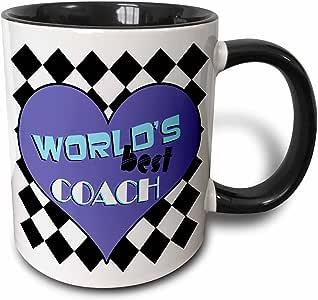 3drose janna salak 设计 WORLD S BEST–worlds BEST COACH 蓝色–马克杯 黑色/白色 11 oz
