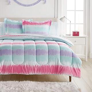 Dream FACTORY 扎染条纹超柔软超细纤维棉被套装,全套,紫色多色