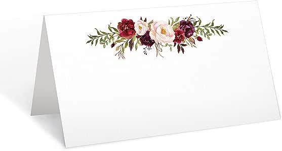 321Done 空白放置名片或食品物品可写入,婚礼*用桌子设置卡片,帐篷风格座椅,红色玫瑰花花白色 白色 Pack of 50 FBC126A_50