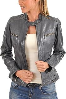 皮革 FARM 女式羊皮飛行員機車夾克灰色