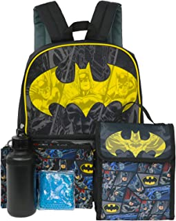 DC 男孩蝙蝠侠 5 件套 16 英寸背包午餐套装 黑色/黄色