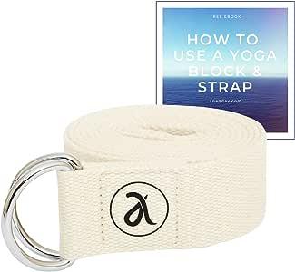 Ananday 天然棉排列带 | 用于练习和行星 | 6 英尺 | 可调节 | 耐用、*、环保瑜伽瑜伽带,适合拉伸、普拉提、物理*和一般健身。