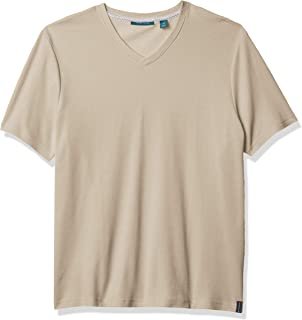 Perry Ellis 男式奢华珠地布短袖 V 领 T 恤