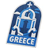 Vagabond 心形希腊旅行补丁 - Santorini Island/背包和行李的*纪念品/希腊背包和旅行徽章。