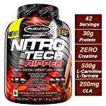 Muscletech 肌肉科技 Nitro Tech Ripped 超潔凈乳清蛋白分離粉+減重配方,低糖,低碳水化合物,巧克力軟糖布朗尼口味,4磅/1.81千克
