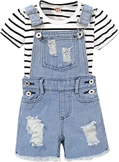 SEVEN YOUNG 幼童女童牛仔服短袖 T 恤 + 撕裂背带连体裤连身裤夏装