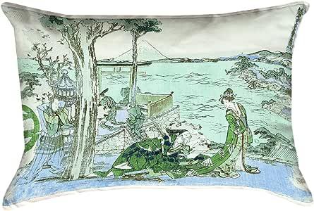 ArtVerse Katsushika Hokusai 日本 Courtesan 棉斜纹双面印花抱枕 绿色/蓝色 14 英寸 x 20 英寸 HOK042P1420K