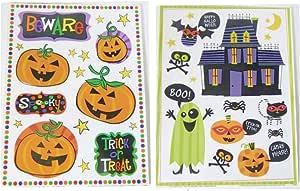 万圣节静电吸附膜窗玻璃贴纸(2 张装) Beware Pumpkins Haunted House 5373311