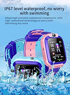 儿童防水智能手表手机,LBS/GPS 追踪器触摸屏智能手表游戏SOS闹钟相机智能手表圣诞节生日礼物,适合3-12岁男孩女孩(蓝色)