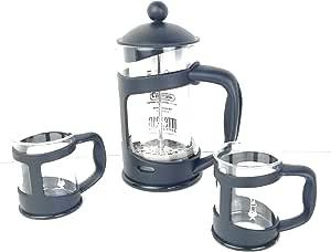 Bialetti 咖啡壶套装带2个杯子,玻璃,30 x 20 x 15厘米,3件 黑色 30.0 x 20.0 x 15.0 cm 4652