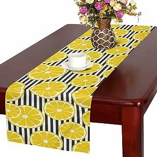 InterestPrint 搞笑食物黄色柠檬与椰子帽子桌旗棉麻布餐垫适用于办公室厨房餐厅婚礼派对宴会,40.64 x 182.88 厘米 设计 #5 16 x 72 Inches TR0078-E16in